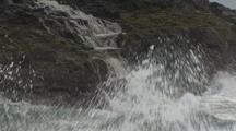 Waterfall, Storm Waves Crashing On Rocks, Hawaii Coastline