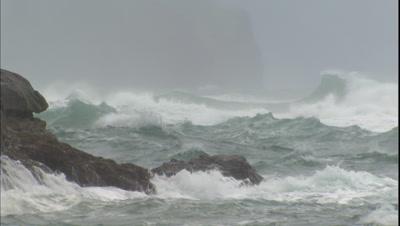 Storm Waves Crashing On Rocks, Hawaii Coastline
