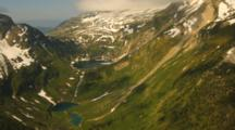 Aerial Of High Mountain Valley And Lake