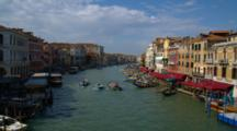 Motorboats Travel Up And Down Venice Canal, Pan