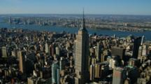 Aerial Of The Empire State Building And The Manhattan Skyline