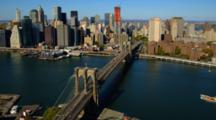 Aerial Of Brooklyn Bridge And Manhattan Skyline