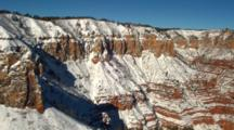 Aerial Grand Canyon Dusted With Light Snow