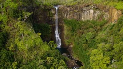 Aerial Kahili Or Five Sisters Falls On Kauai