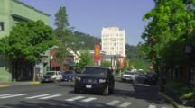 Cars On Street in Downtown Ashland, Oregon