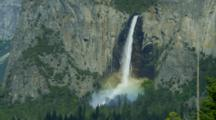 Bridalveil Falls Creates Rainbow From Tunnel View