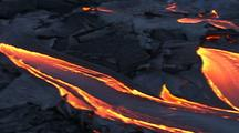 Aerial View Of Lava Flowing From Volcano