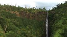 Aerial View Of Large Crater And Waterfall, Hawaii