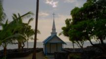 Small Catholic St. Peter's Church On Coast, Kona, Hawaii