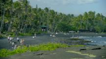 People Enjoy Black Sand Beach, Punaluu Park
