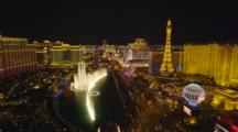 Las Vegas, Overlook Of Bellagio Hotel Fountain Light Show And Strip At Night
