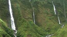Aerial View Of Steep Mountains And Waterfalls, Hawaii