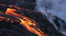Aerial View Of Molten Lava Flowing