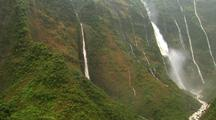 Aerial View Of Steep Canyons And Many Waterfalls, Hawaii
