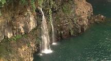 Waterfalls Empty Into Water, Hawaii Coastline
