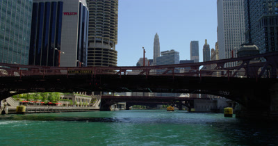 POV Travel on Chicago River,Pass Below Bridges,Skyline Ahead