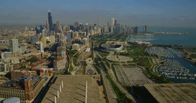Aerial City of Chicago Including Waterfront,Harbor