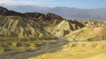 Panoramic View From Zabriskie Point With Colorful Hills, Dry Stream Bed