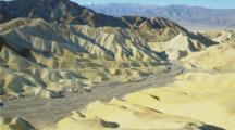 View From Zabriskie Point With Colorful Hills, Dry Stream Bed