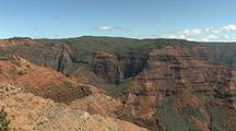 Overlook View Of Waimea Canyon With Waterfall, Hawaii