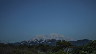 Time lapse of Mt Shasta, California at night, sunrise, and day