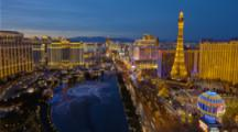 Time Lapse, Las Vegas Strip, Overlooking Bellagio Casino and Fountain At Night
