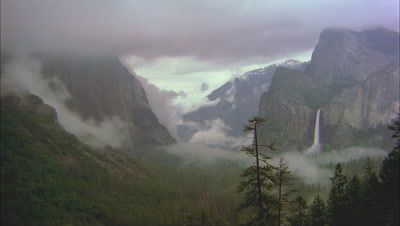 Fog Rolls In Through Valley, Yosemite National Park