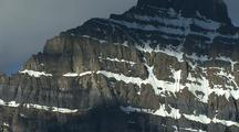 Steep, Snowy Mountain In Banff National Park