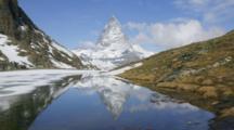 Time Lapse, Matterhorn Reflected In Lake, Near Zermatt, Switzerland