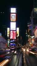 Vertical Time Lapse, Cars Drive Times Square At Night