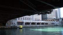 Travel Down Chicago River Under Bridge