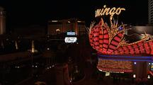 Overlook Of Las Vegas Strip, Flamingo Casino At Night
