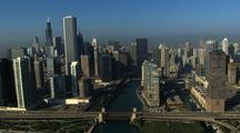 Aerial Of Chicago High-Rise Buildings, River