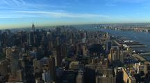 Aerial Of Manhattan Buildings, River, Central Park