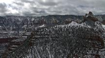 Aerial View Of Grand Canyon, Snow On North Rim