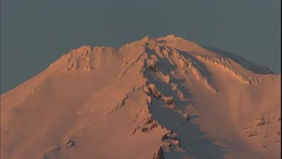 Close-Up Of Mount Shasta At Sunset