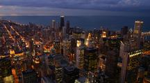 Time Lapse, Chicago Skyline In At Night From Sears Tower