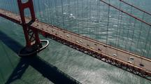 Aerial View Traveling Over Golden Gate Bridge And Bay