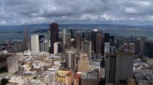 Aerial View Traveling Over City Of San Francisco