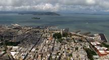 Aerial View Traveling Over City Of San Francisco, Transamerica Pyramid