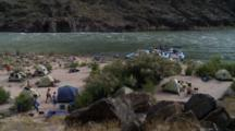 Overlook Of River Rafting Camp In Grand Canyon