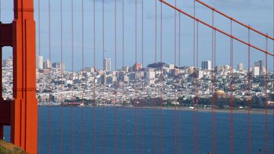 San Francisco Skyline Through Golden Gate Bridge