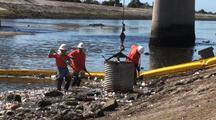 Workers Clean Up Trash Collected In Los Angeles River System