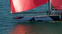 Aerial Of Team New Zealand America's Cup Boat, Crew