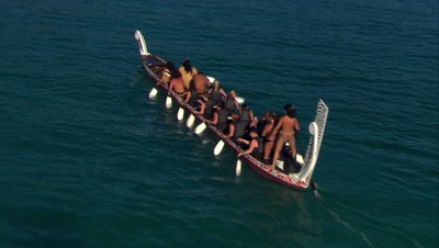 Aerial Of Waka,Traditional Outrigger Canoe