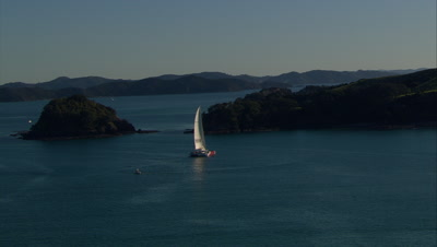 Aerial Of Bay Of Islands With Catamaran