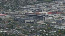 Aerial Over Downtown Auckland, Stadium, Other Buildings