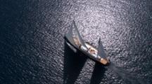 Aerial Looking Straight Down On Superyacht Vertigo In The Waitemata Harbour, Auckland Nz