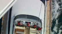 Close Aerial Over Crew Of Kokomo Superyacht, Hauraki Gulf, Nz