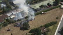 Aerial Fire Near A House, Auckland, Nz
